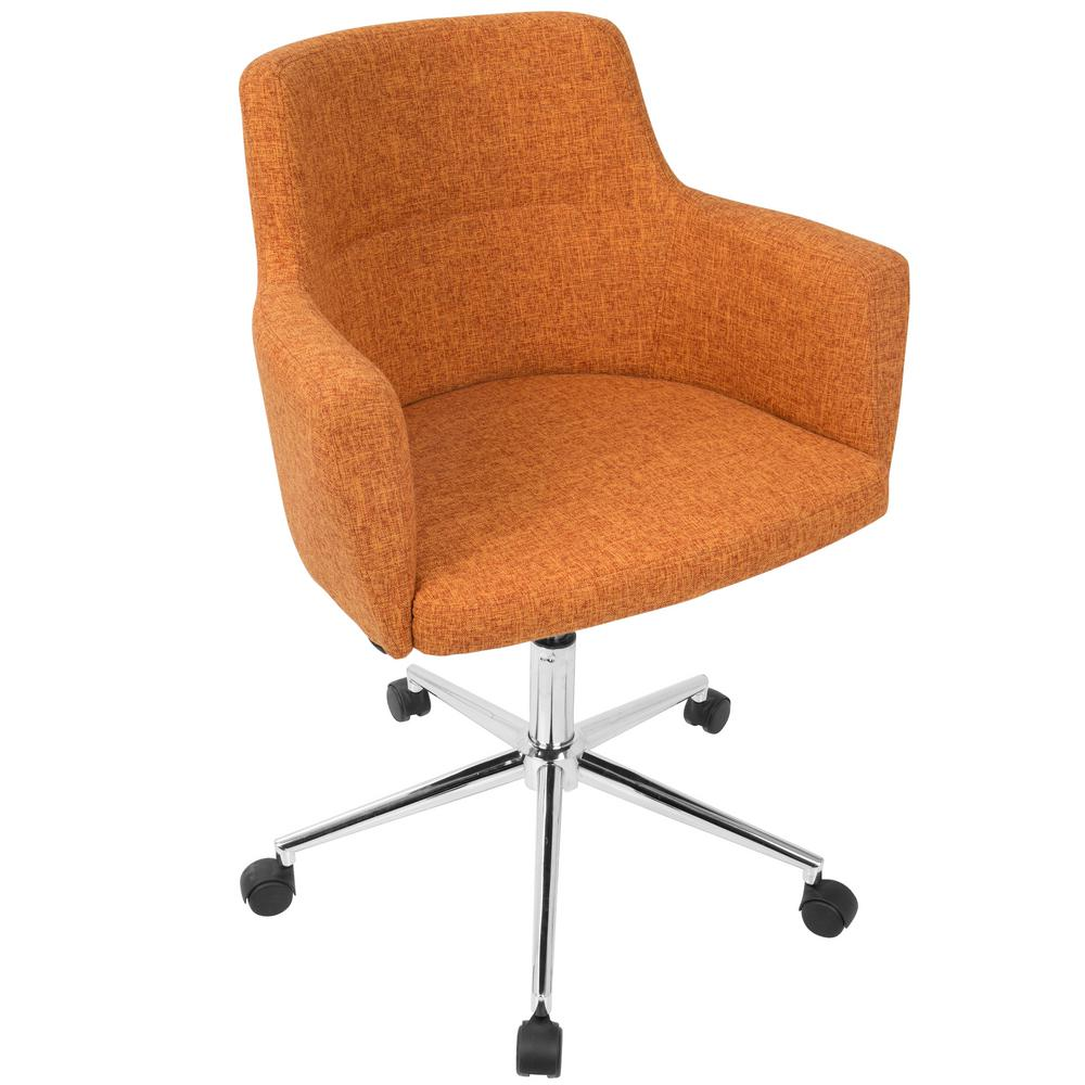 Lumisource Andrew Contemporary Adjule Orange Fabric Office Chair