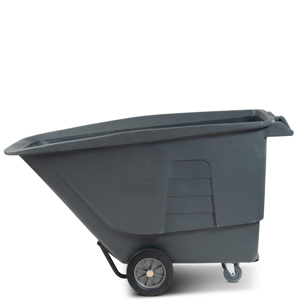 Toter 1 Cubic Yard 1,200 lbs. Capacity Standard Duty Tilt Truck - Gray
