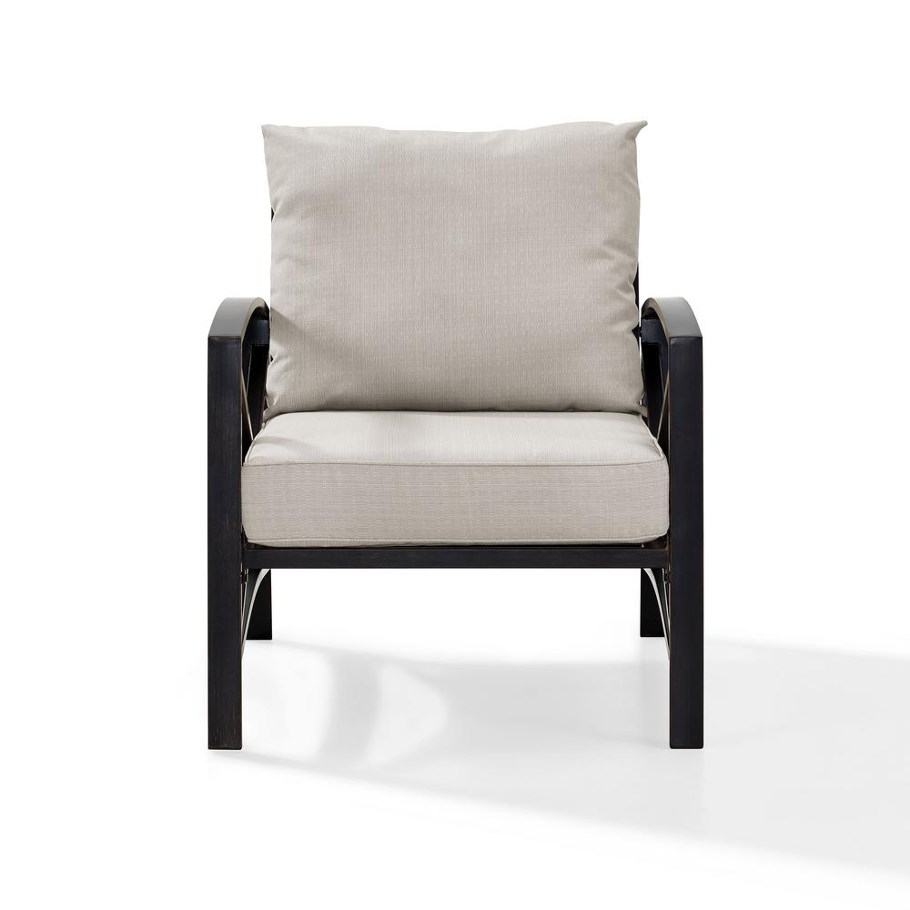 Crosley Kaplan Metal Outdoor Lounge Chair with Universal Oatmeal Cushion  Cover