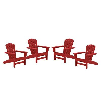 Boca Raton Bright Red Recycled Plastic Curveback Adirondack Chair (4-Pack)
