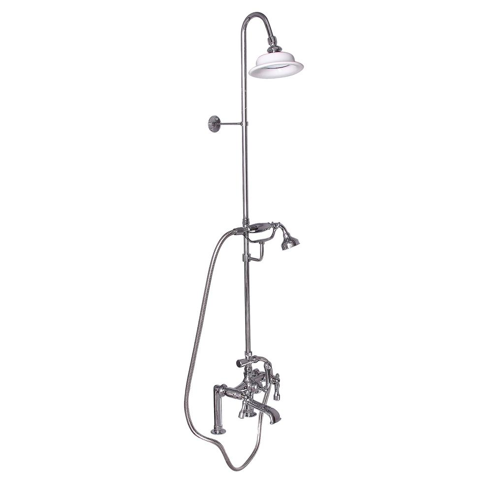 3-Handle Rim Mounted Claw Foot Tub Faucet with Riser, Hand Shower