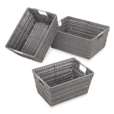 Rattique Storage 11.4 in. W x 6.5 in. H Grey Resin Baskets (3-Pack)