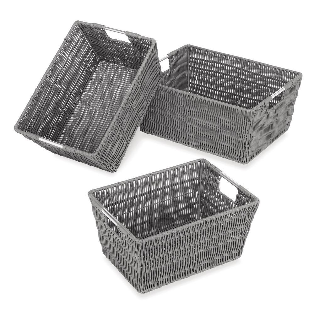 Rattique Storage 11.4 in. W x 6.5 in. H Grey Resin Baskets (3-Pack)