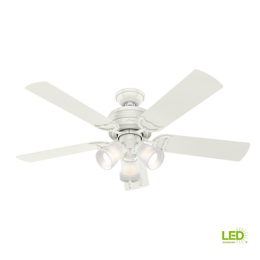 3 light ceiling fan black led indoor 3light fresh white ceiling fan hunter prim 52 in fan53382