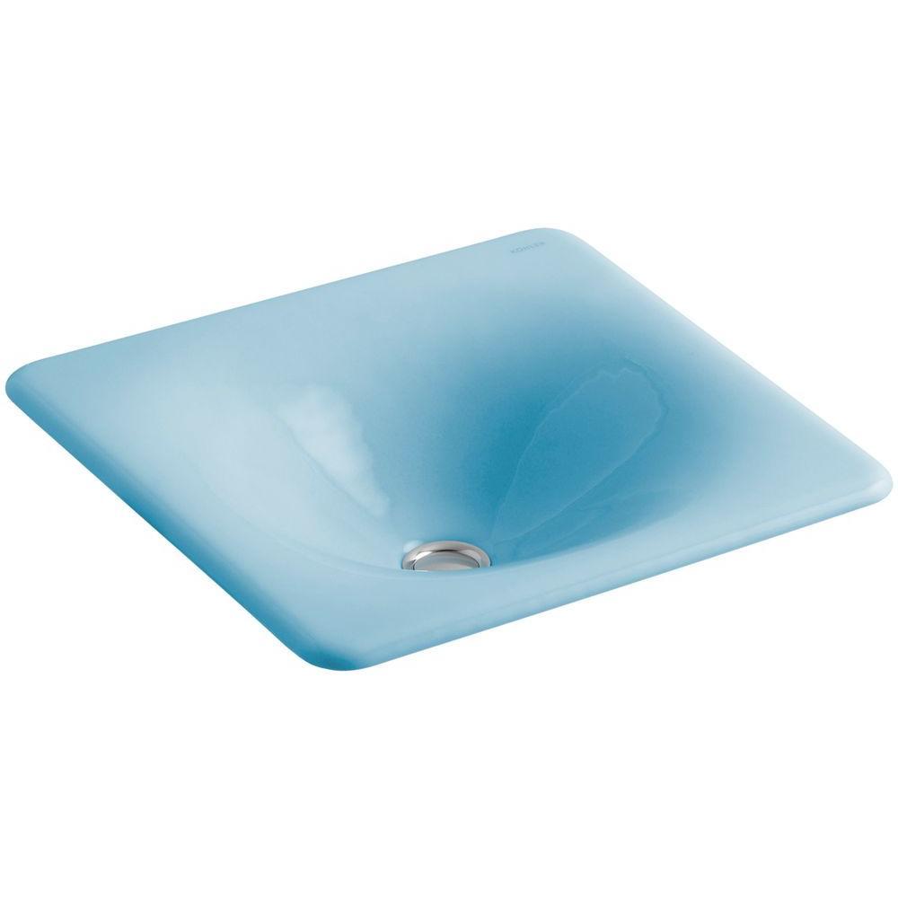 KOHLER Iron/Tones Undermount Cast Iron Bathroom Sink in Vapour Blue