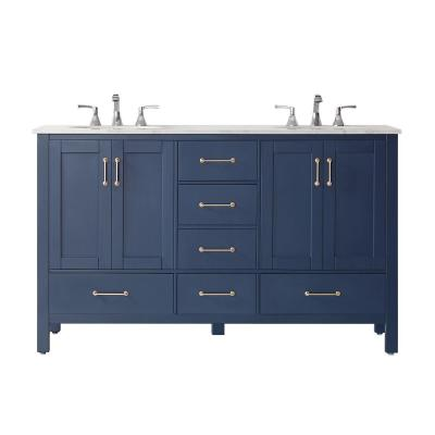 Gela 60 in. Vanity in Blue with Marble Vanity Top in White with White Basins