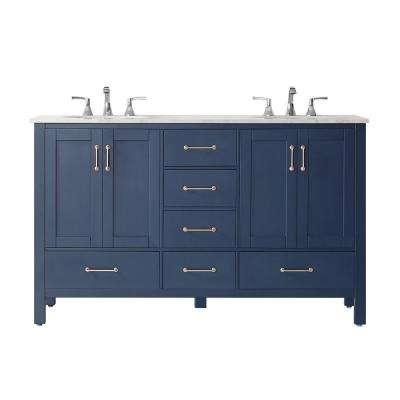 "Gela 60"" Double Vanity in RoyalBlue with Carrara White Marble Countertop Without Mirror"