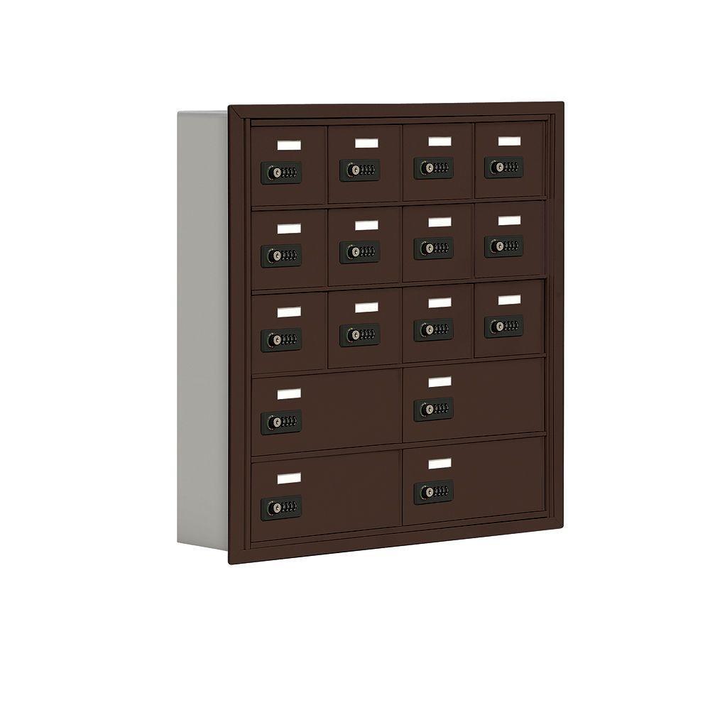 19000 Series 30.5 in. W x 31 in. H x 5.75 in. D 12 A/4 B Doors R-Mount Resettable Locks Cell Phone Locker in Bronze