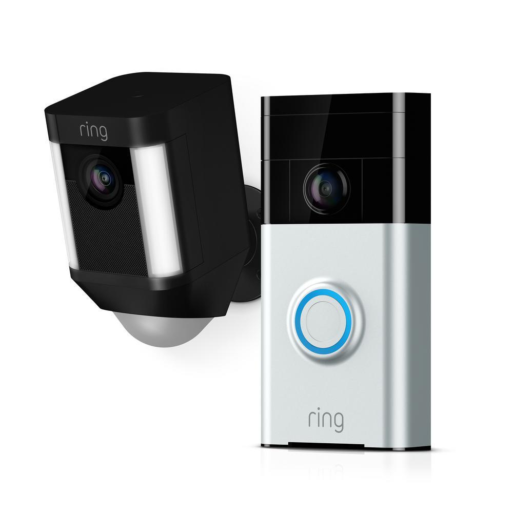 Ring Wireless Video Doorbell with Spotlight Cam Battery Black