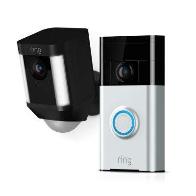 Wireless Video Doorbell with Spotlight Cam Battery Black