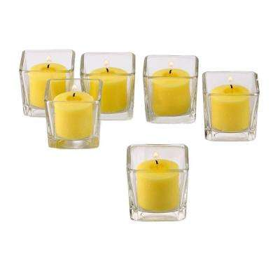 Clear Glass Square Votive Candle Holders with Yellow Votive Candles (Set of 12)
