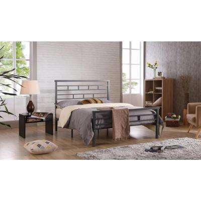 Grey Queen Platform Bed