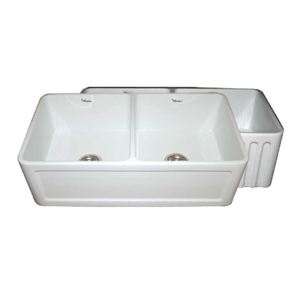 Whitehaus Collection Reversible Concave Farmhaus Series Apron Front Fireclay 33 in. Double Basin Kitchen Sink in White
