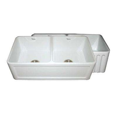 Reversible Concave Farmhaus Series Apron Front Fireclay 33 in. Double Bowl Kitchen Sink in White
