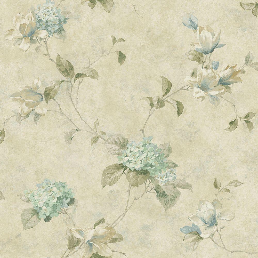 Magnolia Hydrangea Green Trail Wallpaper Sample