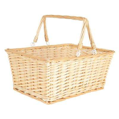 15 in. x 7 in. Willow Open Market Baskett with 2 Handles