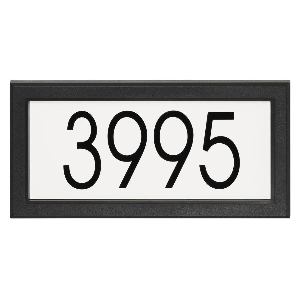 Modern Rectangular Address Plaque in Black and White