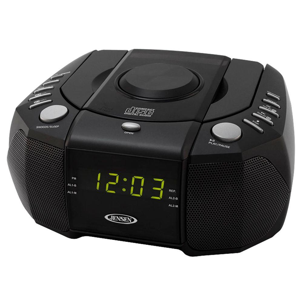 AM/FM Stereo Dual Alarm Clock Radio with Top Loading CD Player,