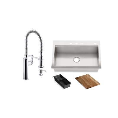 Lyric Workstation 33 in. Dual Mount Stainless Steel Single Bowl Kitchen Sink with Sous Semi Pro Kitchen Faucet