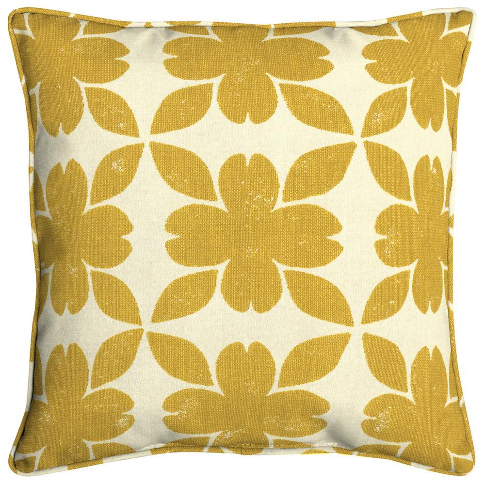 Home Decorators Collection Sunbrella Floret Honey Square Outdoor Throw Pillow (2-Pack)