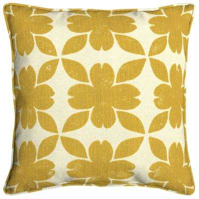 Sunbrella Floret Honey Square Outdoor Throw Pillow (2-Pack)
