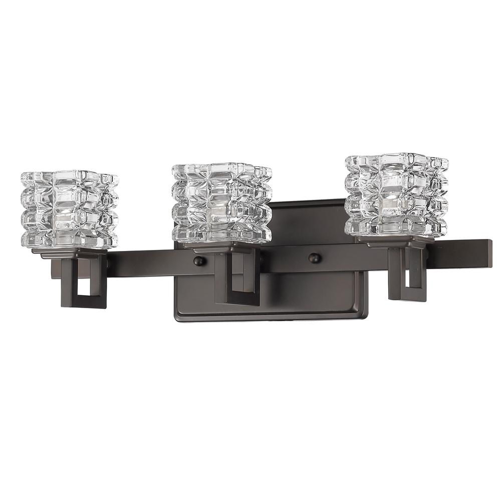 Acclaim Lighting Cie 3 Light Oil Rubbed Bronze Vanity With Pressed Crystal Shades