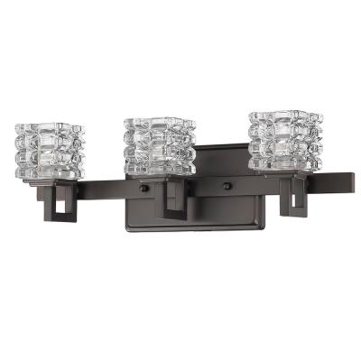 Coralie 3-Light Oil-Rubbed Bronze Vanity Light with Pressed Crystal Shades