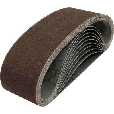 3 in. x 24 in. 80-Grit Abrasive Belt (10-Pack)