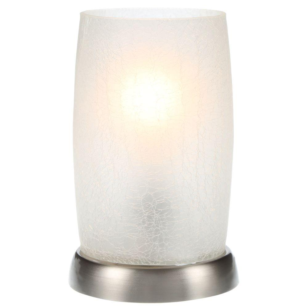 Hampton Bay 8.5 in. Brushed Nickel Accent Lamp with Frosted Crackled Glass Shade