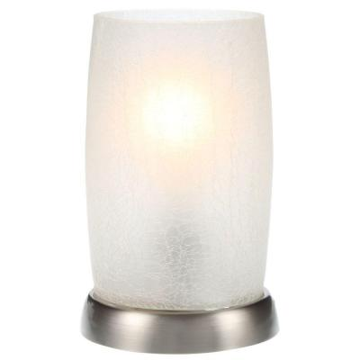 8.5 in. Brushed Nickel Accent Lamp with Frosted Crackled Glass Shade