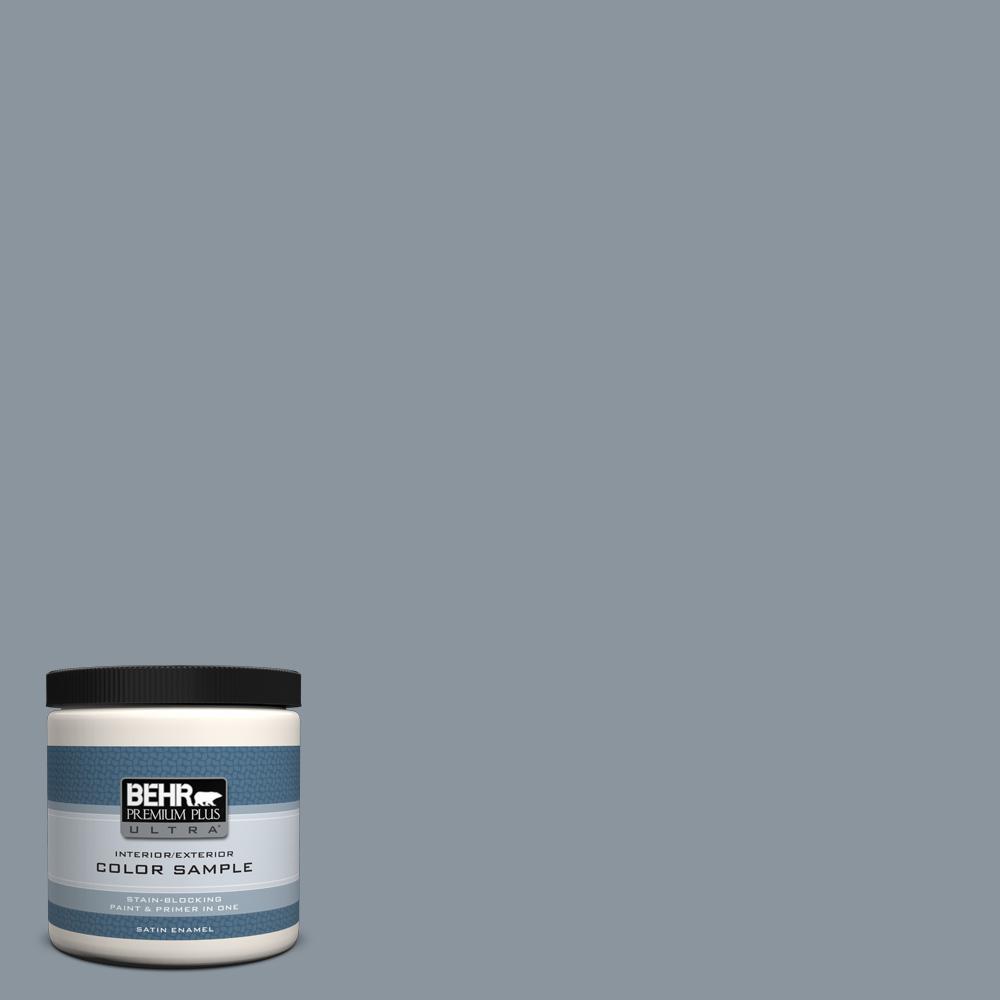 BEHR Premium Plus Ultra 8 oz. #PPF-28 Blue Dusk Satin Enamel Interior/Exterior Paint and Primer in One Sample