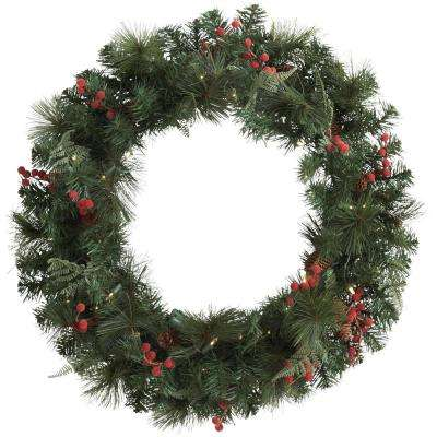30 in Battery Operated Pre-Lit Artificial Christmas Wreath with White Lights