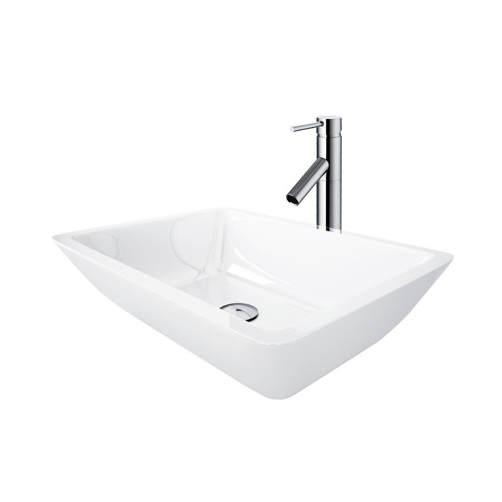 Phoenix Stone Vessel Sink in White With Dior Vessel Faucet in