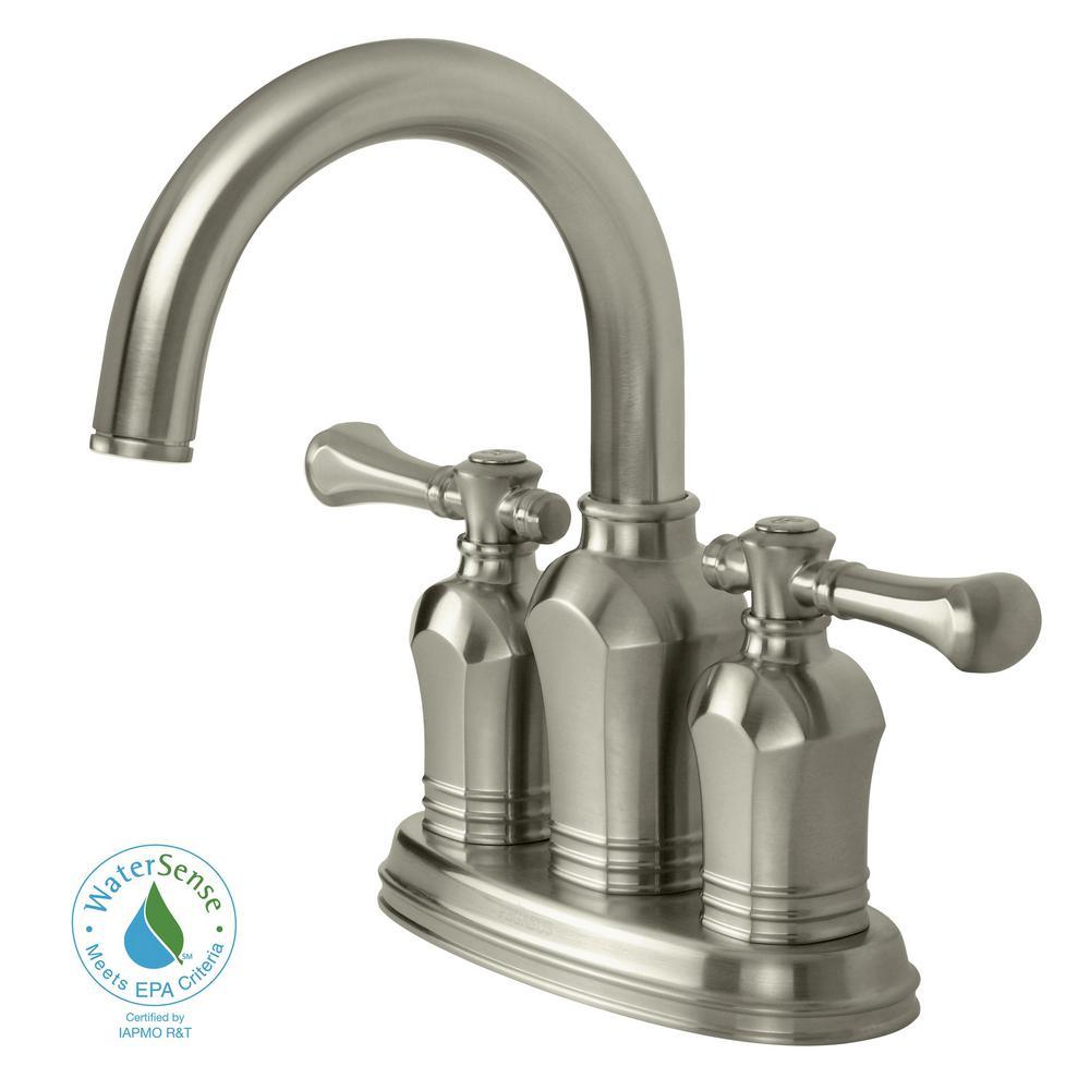 Verdanza 4 in. Centerset 2-Handle Bathroom Faucet in Brushed Nickel