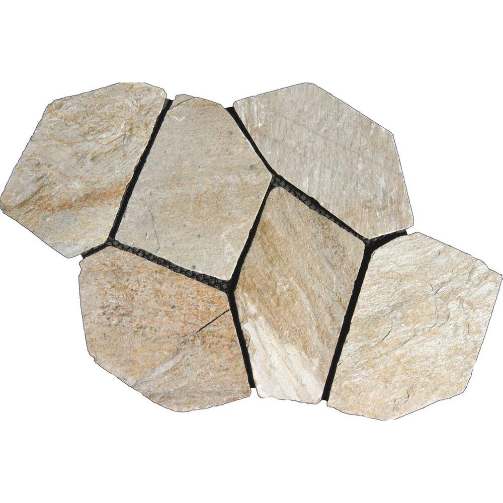 Golden White 22 In. X 18 In. Meshed Flagstone Paver Tile