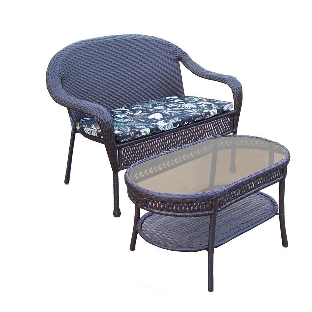 Elite 2-Piece Wicker Patio Seating Set with Black Floral Cushions