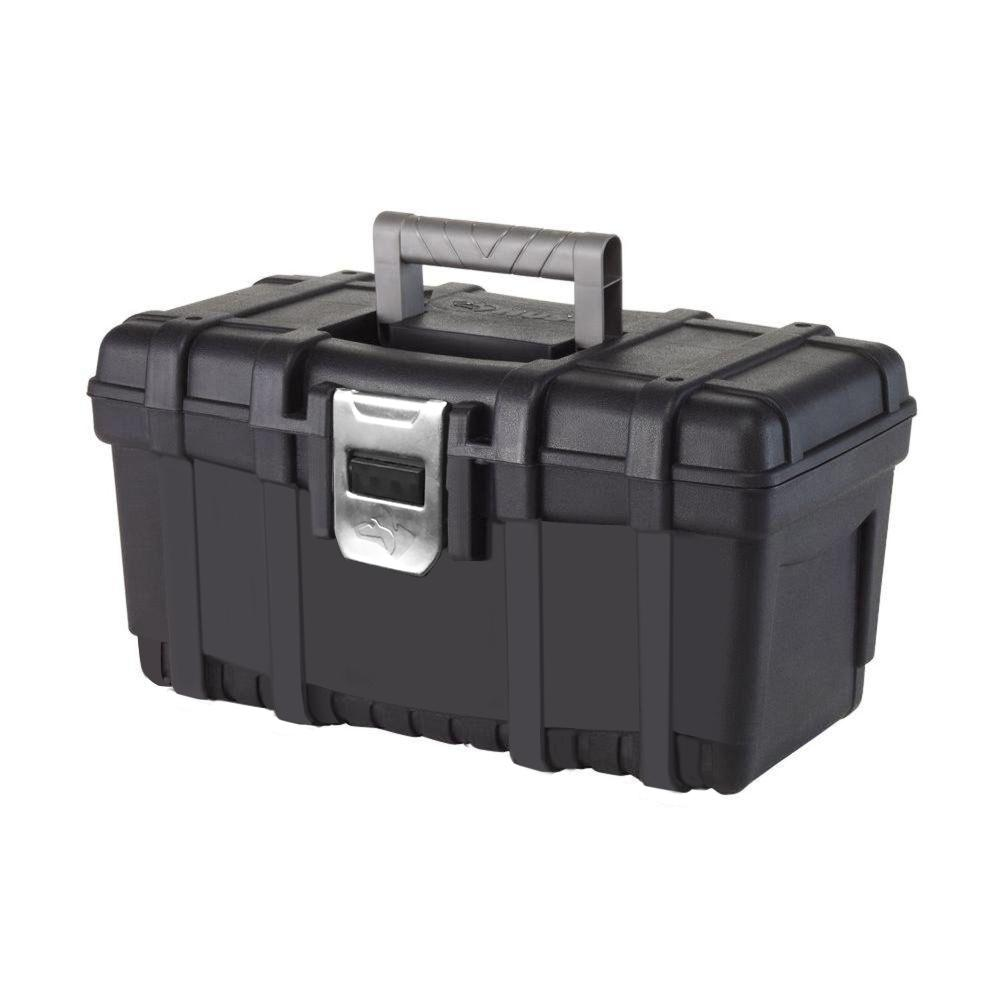 16 in. Plastic Tool Box with metal latch (1.6mm) in Black