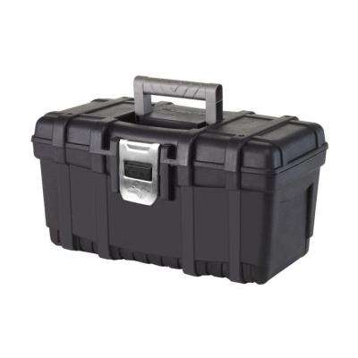 16 in. Plastic Tool Box with Metal Latch (1.6 mm) in Black
