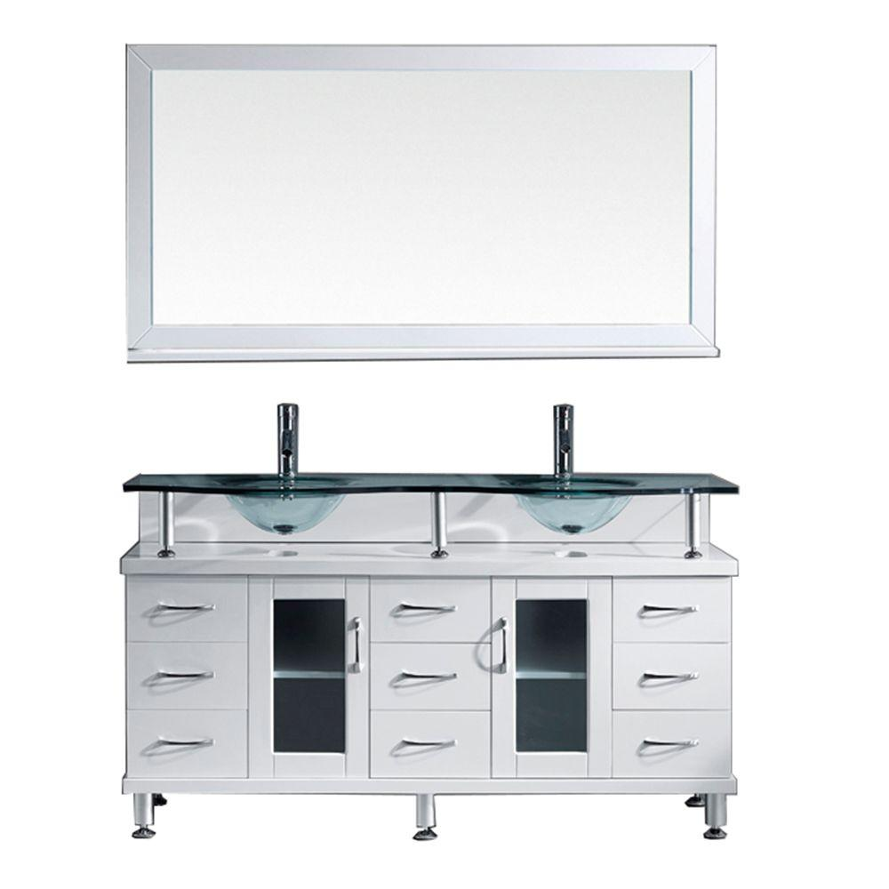 Superbe W Bath Vanity In White With Glass Bath Vanity Top