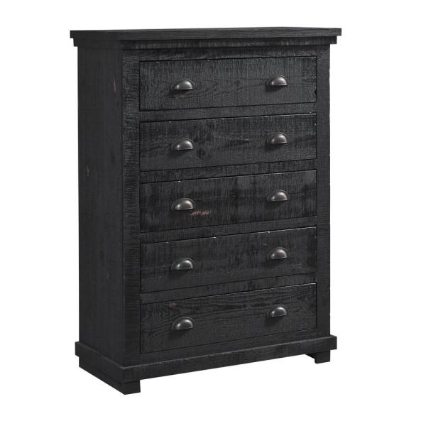 Progressive Furniture Willow 5 Drawer Distressed Black Chest