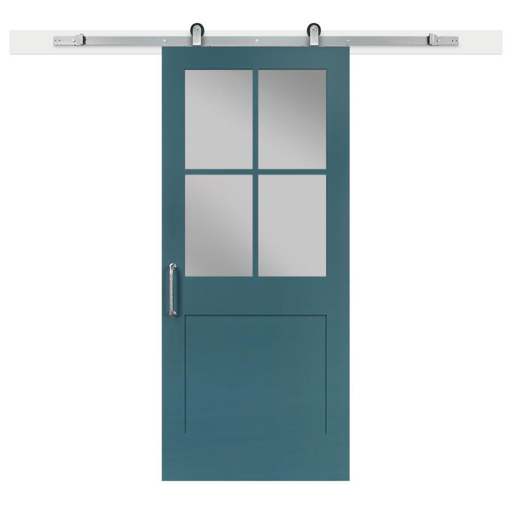 36 in. x 84 in. Pacific 1-Panel Privacy Half-Lite Satin Solid-Core MDF Barn Door with Sliding Door Hardware Kit