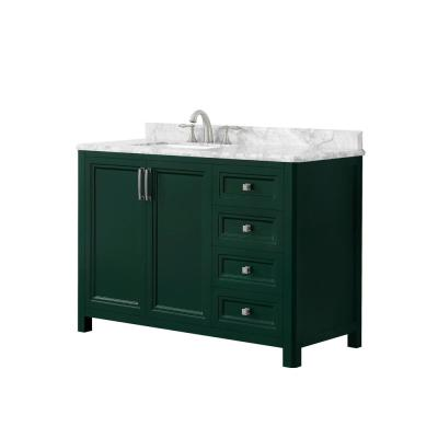Sandon 48 in. W x 22 in. D Bath Vanity in Emerald Green with Marble Vanity Top in Carrara White with White Basin