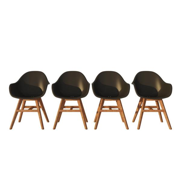 Elbe Solid Wood Outdoor Dining Chair in Black (4-Pack)