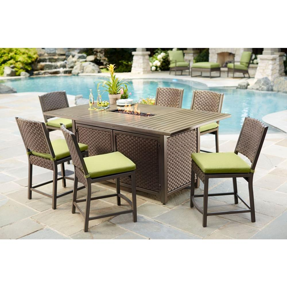 Hampton bay carol stream 7 piece balcony high patio dining for Balcony furniture set