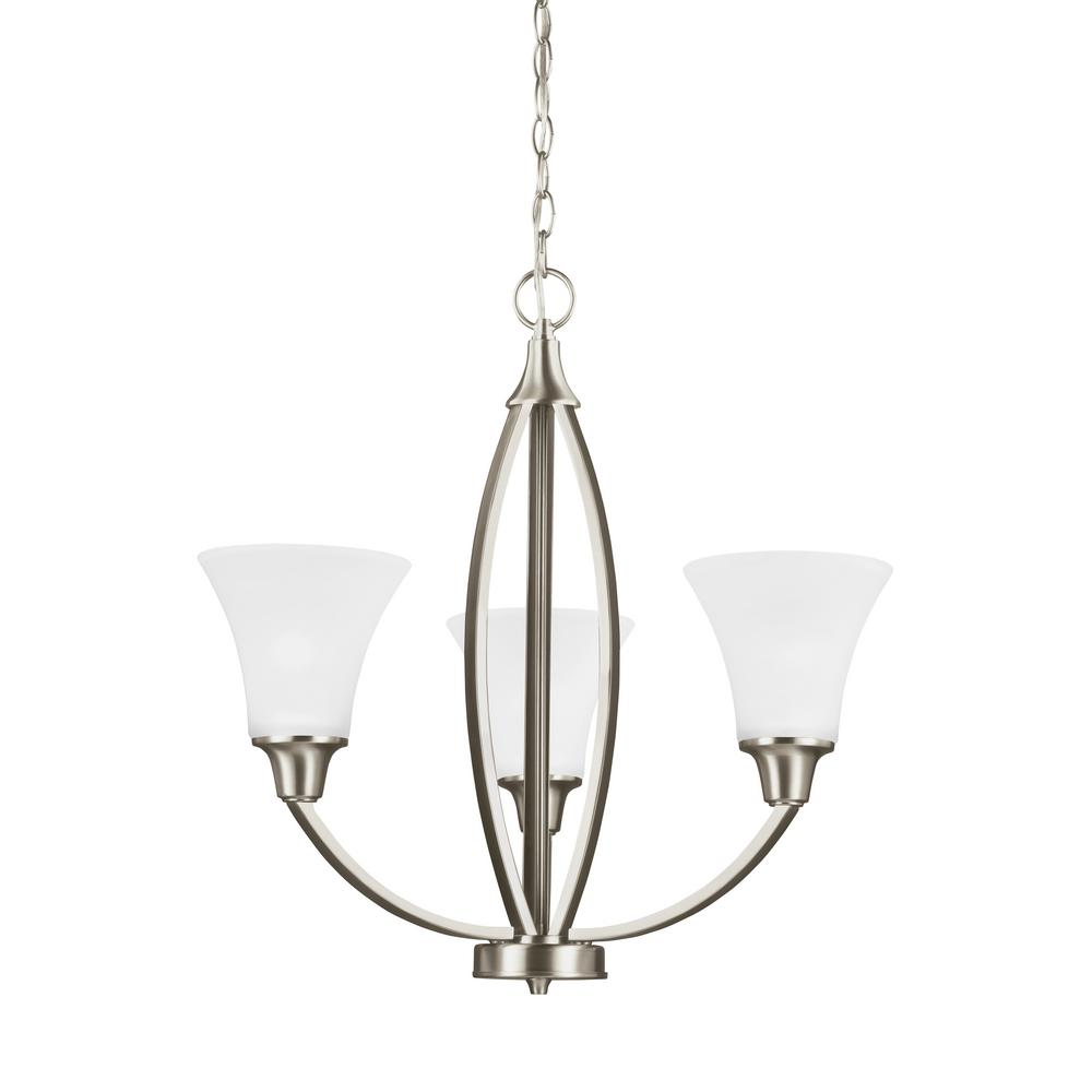 Metcalf 3-Light Brushed Nickel Chandelier