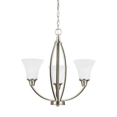 Metcalf 3-Light Brushed Nickel Chandelier with LED Bulbs