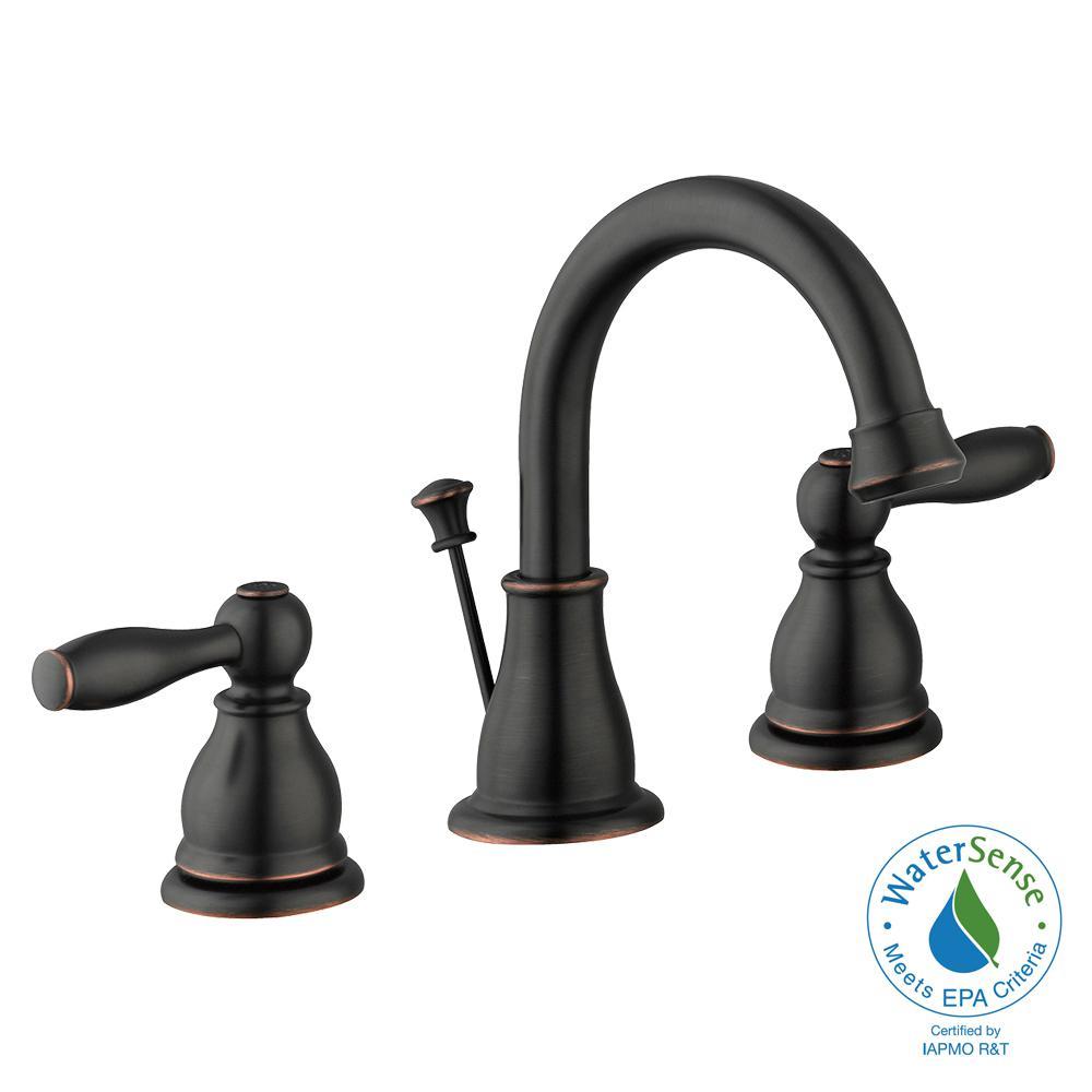 Mandouri 8 in. Widespread 2-Handle High-Arc Bathroom Faucet in Bronze
