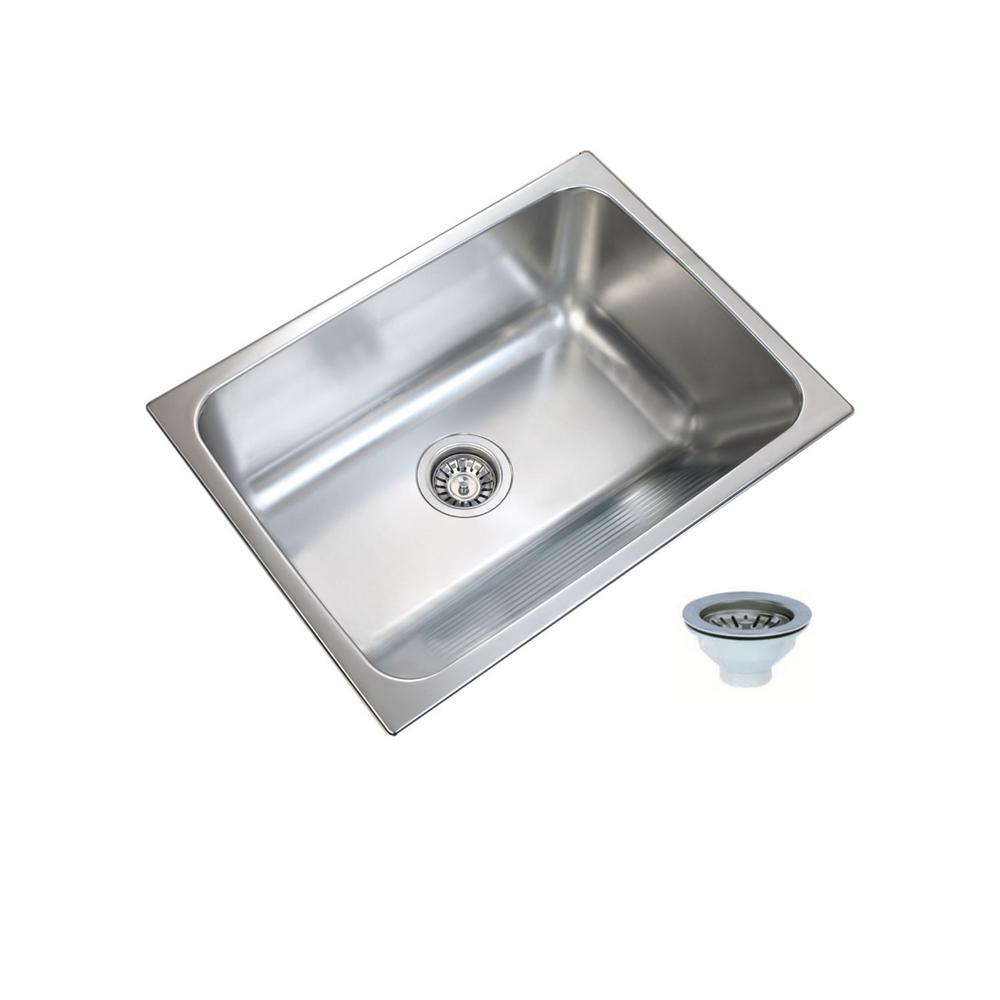 UKINOX 24 in. x 18 in. Single Bowl Stainless Steel Laundry Sink with Washboard