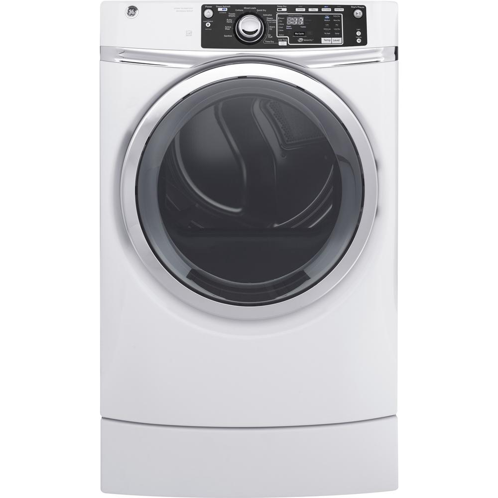 8.3 cu. ft. 120 Volt White Gas Vented Dryer with Steam
