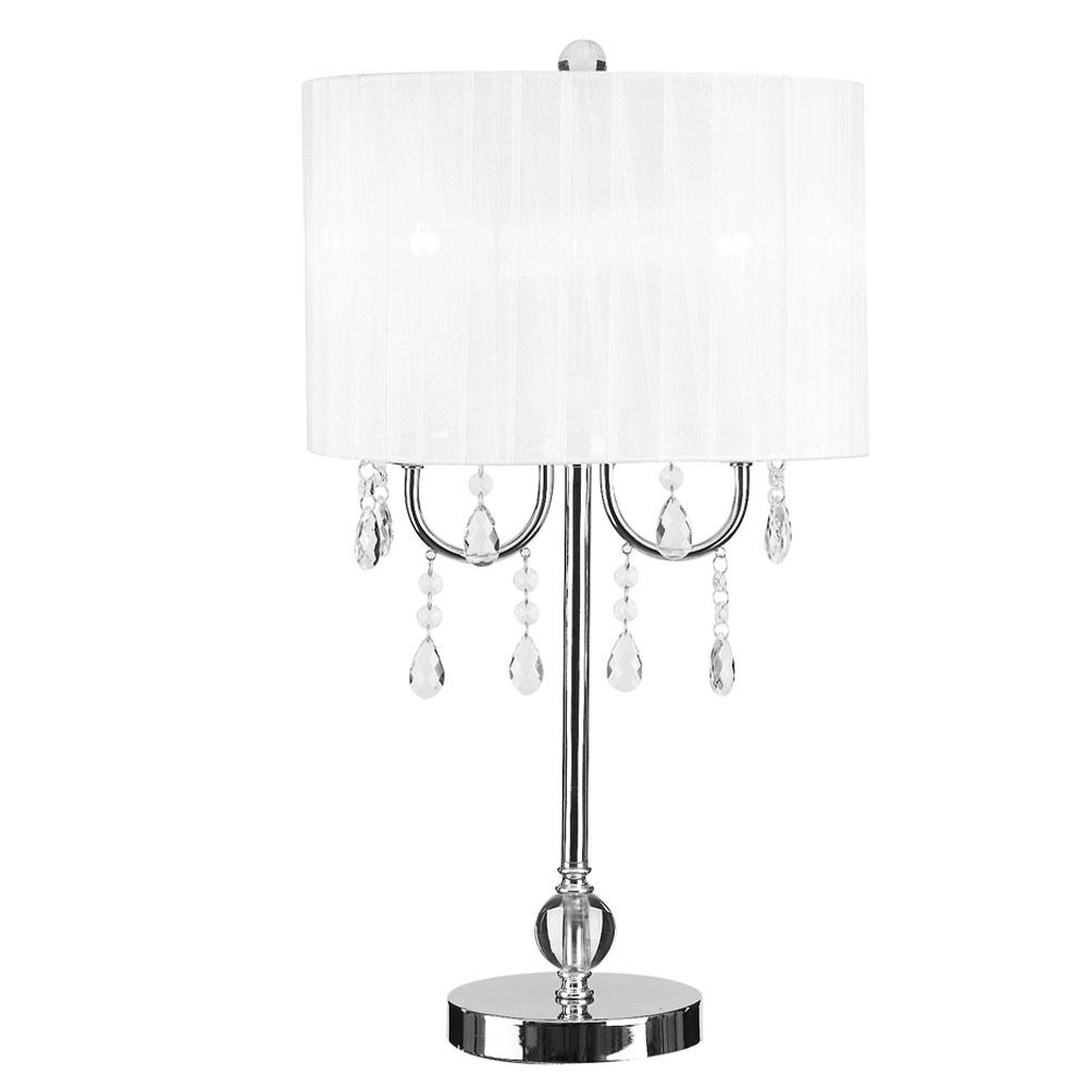 Chrome Table Lamp With White Chandelier Style Shade